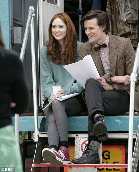 Karen Gillan as Amy Pond, and Matt Smith as the Eleventh Doctor